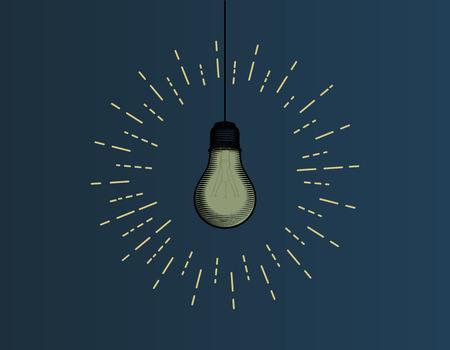 Light bulb illustration on dark blue background with glowing starburst