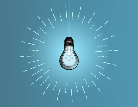 Light bulb illustration glowing on blue background with glowing starburst