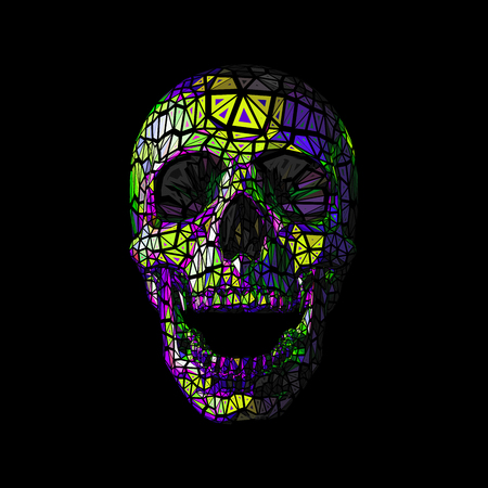 Colorful vector polygonal skull in tribe style isolated on dark background