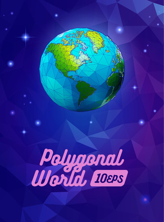 Low poly earth on blue purple polygonal space background with cartoony style