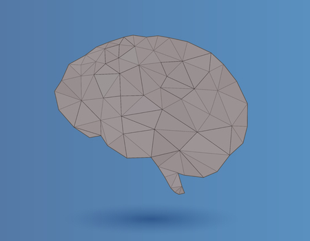 Low poly vector brain illustration for graphic design on blue background