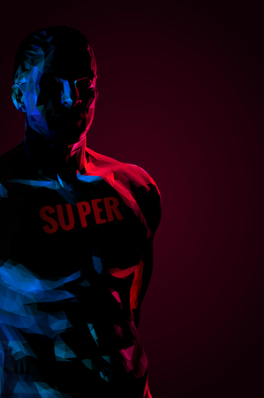 Low poly male body in the darkness with message on body