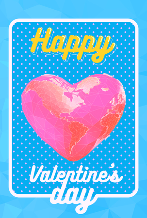 Low poly pink earth in polygonal heart shape on blue space polka dot background for valentine greeting