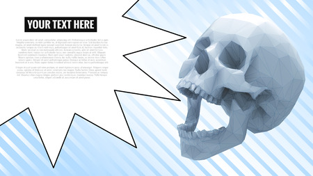 Low poly skull with speech bubble for warning text on light blue stripe background