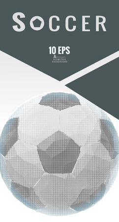 Low poly half tone soccer ball graphic layout on gray color