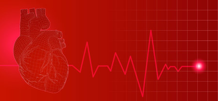 3D wireframe red human heart illustration on dark background with heart rate pulse beat Иллюстрация