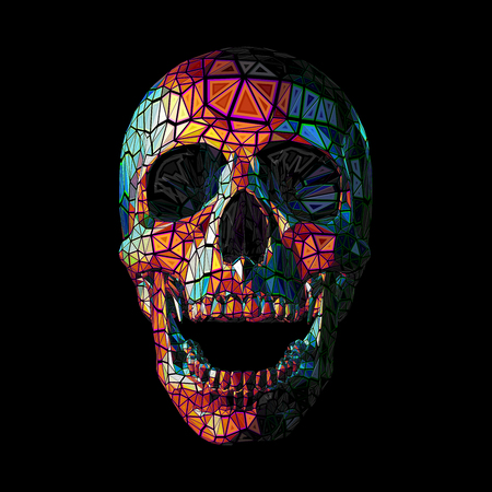 Stylized low poly colorful skull in tribe style on dark background