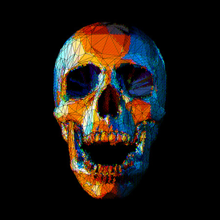 Stylized stripe low poly skull with colorful on dark background