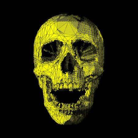 Stylized stripe yellow low poly skull on dark background
