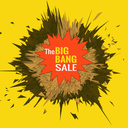 The big bang sale object for banner graphic design template on yellow space background Иллюстрация