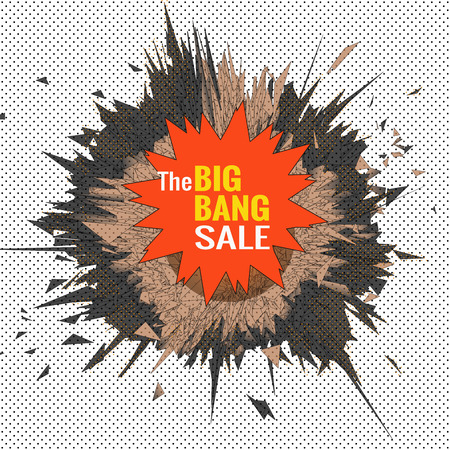 The big bang sale object for banner graphic design template with black and white polka dot background
