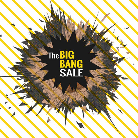 The big bang sale object for banner graphic design template with yellow stripe background