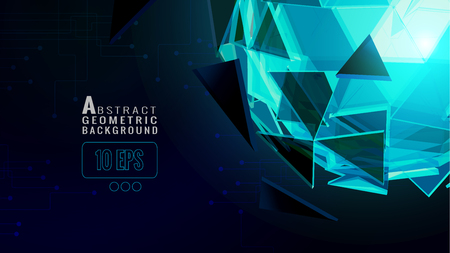 Polygonal abstract triangle sphere glowing on dark space background with technology conceptual on blue color background Иллюстрация