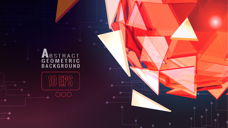 Orange red polygonal abstract triangle sphere glowing on dark space background with technology conceptual on dark color background