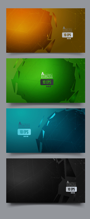 Polygonal geometric abstract triangle sphere with wireframe on four set color background Иллюстрация