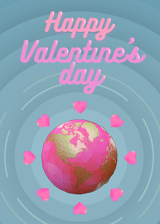 Polygonal pink earth with heart symbol on blue circle background for valentine greeting