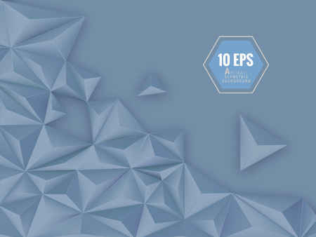 Polygonal triangular abstract vector 3D background with space for text message on blue background Иллюстрация