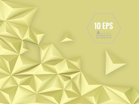Polygonal triangular abstract vector 3D background with space for text message on light yellow background Иллюстрация