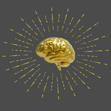 Low poly vector golden brain with starburst illustration isolated on gray background