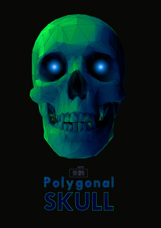 Low poly vector skull front view in green color with wireframe glowing eyes on dark background Stock Illustratie