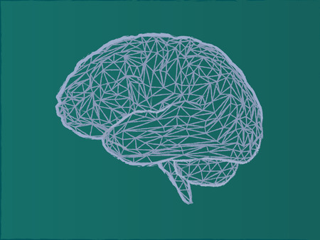 Low poly wireframe brain illustration with chalk drawing style on green board background Иллюстрация