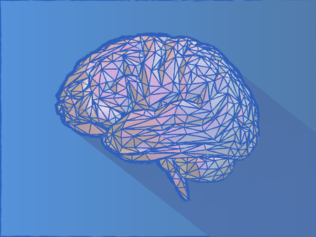 Low poly wireframe brain illustration with crayon pastel drawing style on blue background