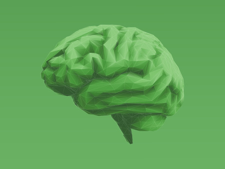 Low polygonal green brain with 3D shading illustration isolated on light green background