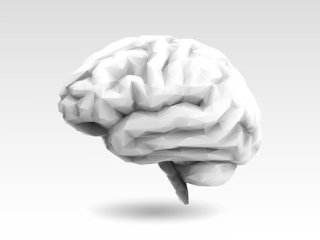 Monochrome low poly stylized brain with 3D shading illustration on white background