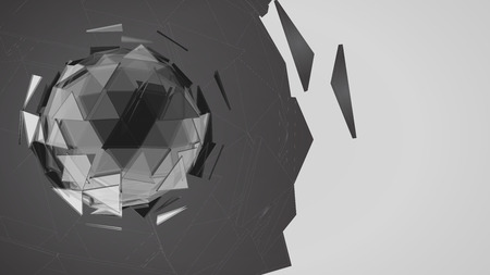 Monochrome polygonal abstract sphere combination by triangle shape graphic template on white background Иллюстрация