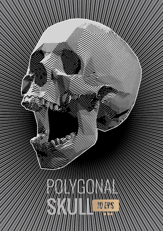 Monochrome stylized stripe line screaming skull illustration on dark shine stroke background