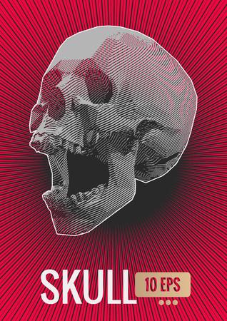 Monochrome stylized stripe line screaming skull illustration transparent on red shine stroke background