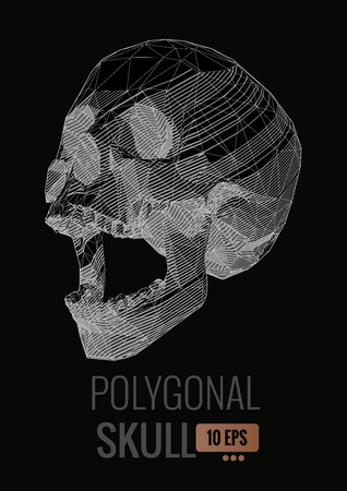 Negative monochrome stylized stripe line skull illustration on black background