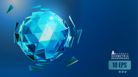 Polygonal abstract triangle sphere combination glow on dark blue space background