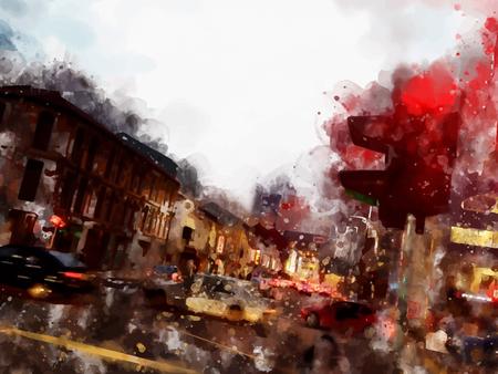 Town street landscape vector watercolor painting illustration Иллюстрация