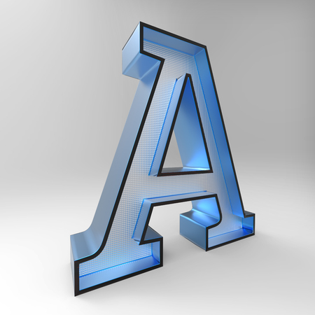 3D alphabet A design rendering with blurry glass material illustration and clipping path for use on any background