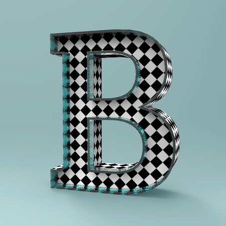 3D alphabet B letting design rendering with checker board pattern texture illustration and clipping path for use on any background