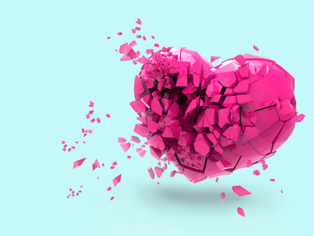 3D pink broken heart rendering illustration isolated on pastel blue background with clipping path for use on any backdrop