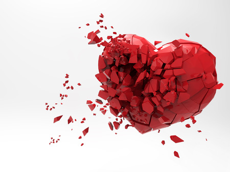 3D Broken heart rendering illustration isolated on white background with clipping path for use on any backdrop