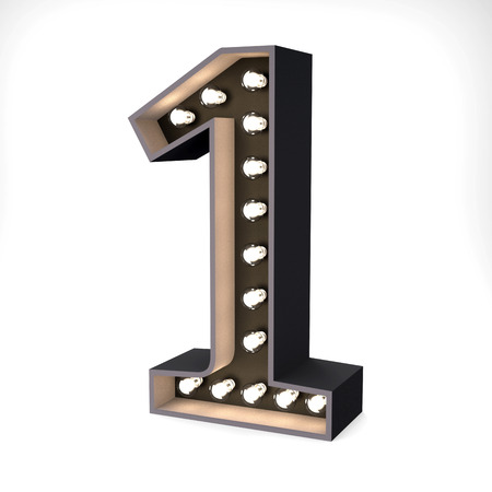 3D number one letter with light bulb rendering in retro style illustration with clipping path for use on any background Фото со стока