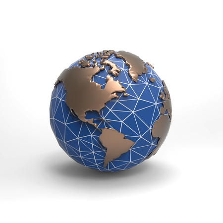 3D low poly earth rendering illustration isolated on white background with clipping path for use on any backdrop