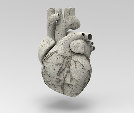 3D human heart illustration rendering with stone material isolated on gray background and clipping path for use on any backdrop