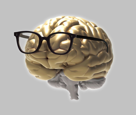 Golden 3D brain and eye glasses photo realistic rendering in front view isolated glowing on gray background with clipping path for use in any backdrop