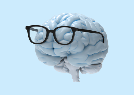 3D brain and eye glasses photo realistic rendering in front view isolated on white background with clipping path for use in any backdrop