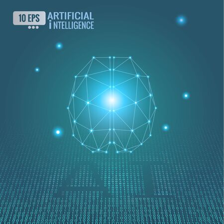 Low poly artificial intelligence brain and connected dots with binary code text glowing on green background