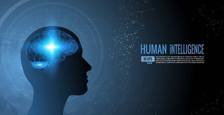 The human intelligence and wisdom conceptual illustration on dark blue background