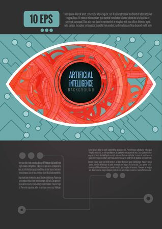 Abstract eye with artificial intelligence concept background template with orange and green color tone on dark gray space for text layout