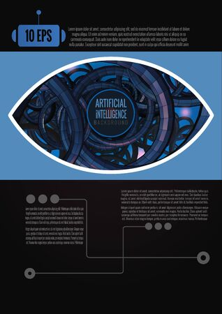 Abstract eye with artificial intelligence concept background template with blue and purple color tone on black space for text layout  イラスト・ベクター素材