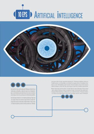 Abstract eye with artificial intelligence concept background template with blue color tone on white space for text layout  イラスト・ベクター素材