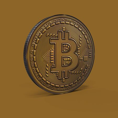 Bitcoin copper mockup 3D rendering isolated on brown background