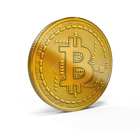 3D rendering bitcoin golden mockup in oblique view isolated on white background